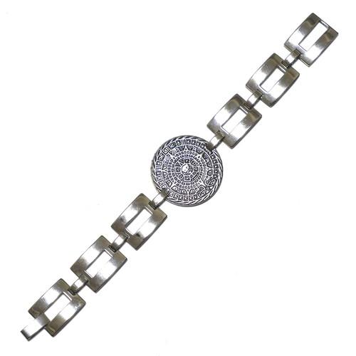 Vintage Sterling Silver Mexican Aztec Calendar Bracelet