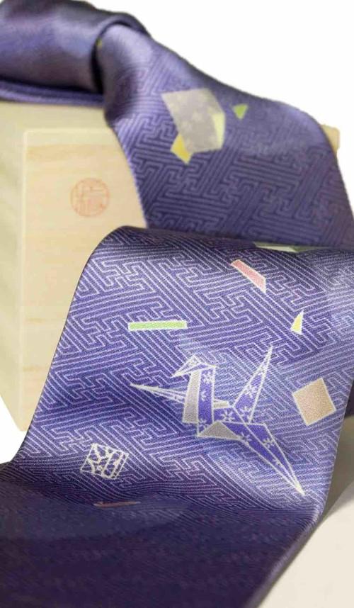 和柄ネクタイ「折り鶴・青」