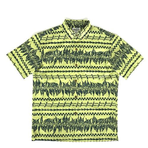 Mountain Men's / ボタンダウンアロハシャツ / マイレ&タパ / イエローグリーン