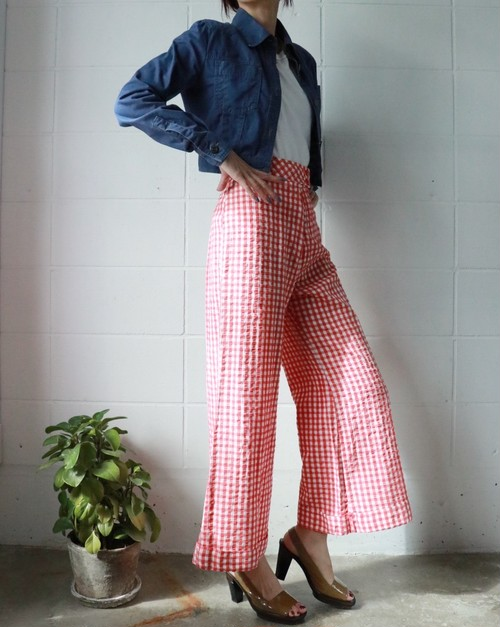 70s Gingham check wide pants