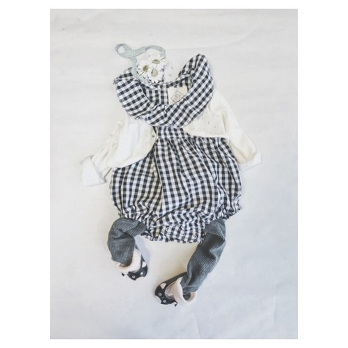 Gingham check clown collar rompers