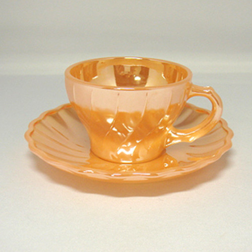 FireKing Shell Peach Luster Demitasse C&S(FK-12283)