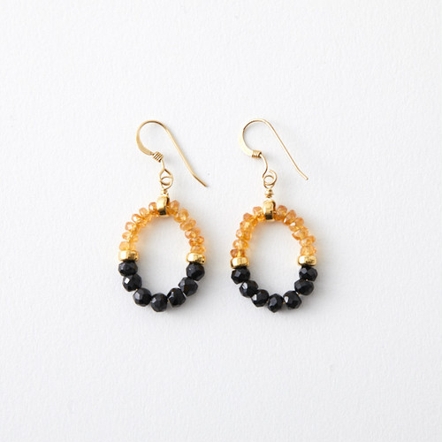 GRACE Pierced Earrings | Black Spinel, Orange Garnet,14KGF
