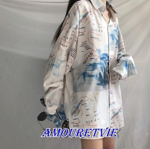 2018 夏 新作 地図 総柄シャツ 長袖 原宿系 韓国ファッション オルチャン モード系 73