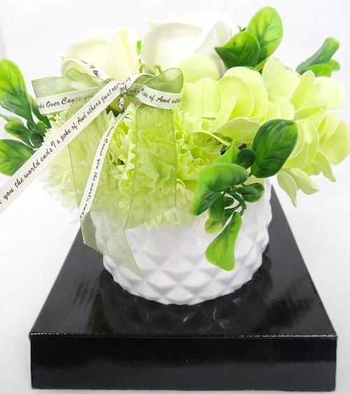 【送料無料】103 花のhiro's japan フレグランスシャボンフラワー アレンジメント 陶器POT仕様 グリーン 103