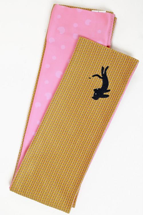 ツモリチサト半巾帯 ネコ小 カラシ