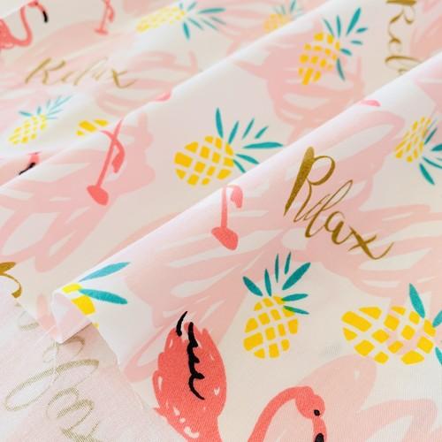 パイナップルとフラミンゴ生地  ピンク * 50×100cm