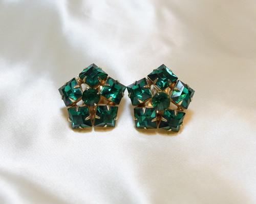 VINTAGE green rhinestone earring