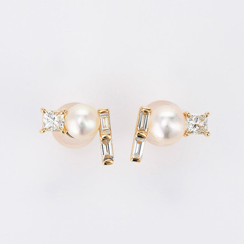 Twinkling stars K18YG Pearl Diamond Pierce (パール ダイヤモンド ピアス)