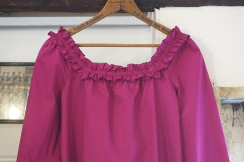 N.S. J.CREW magenta frill square-neck Blouse
