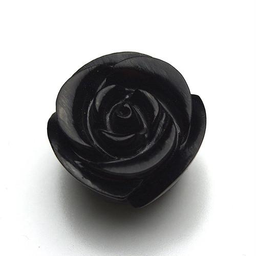 ジェット 黒玉 1粒 バラ彫 薔薇 ペンダントトップ ルース モーニングジュエリー