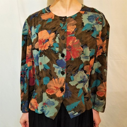 Flower pattern blouse jacket /Made In West Germany [G-627]