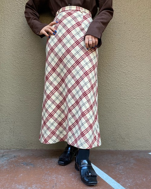 (PAL) plaid long skirt