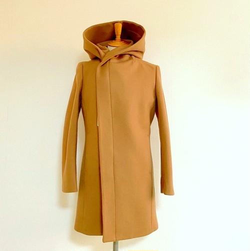 Melton Wool Wrap-Hooded Coat Beige