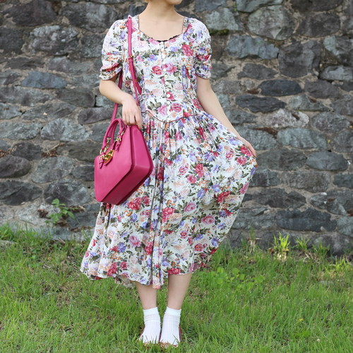 FRENCH VINTAGE FLOWER PATTERNED HALF SLEEVE ONE PIECE/フランス古着花柄半袖ワンピース