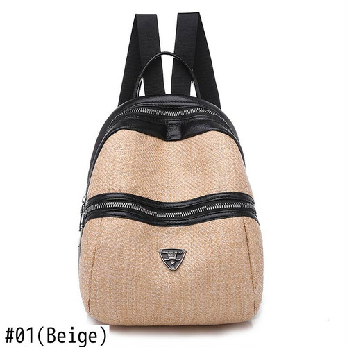 Leather Patchwork Backpack Zipper Bag Style Backpack レザー バックパック リュック (HF99-8944785)