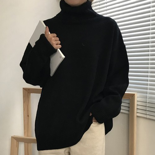 【トップス】合わせやすい長袖一地シンプルハイネックプルオーバーセーター25079584