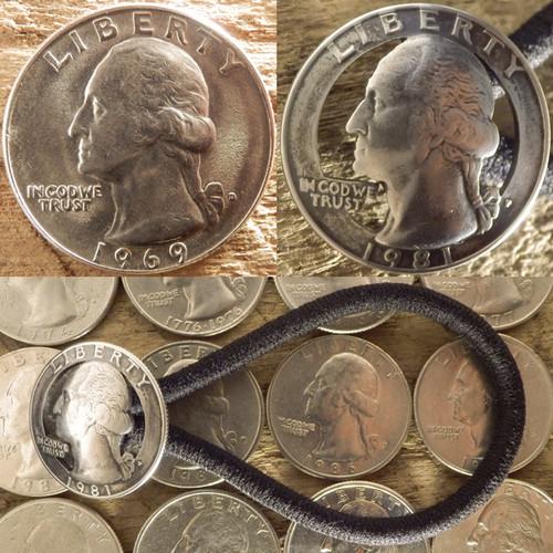 【受注生産】誕生年対応 ワシントン US25¢カットコンチョヘアゴムA【アメリカ 25セント白銅貨】