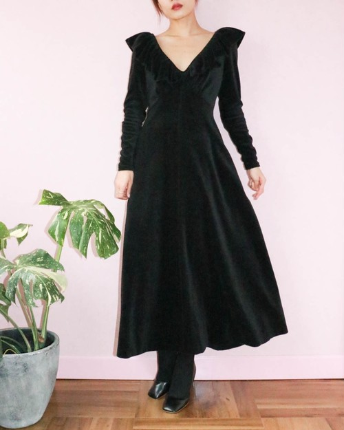 black velour long dress