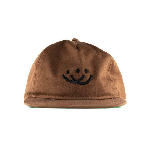 Doubles Smiley 5 Panel Unstructured Snapback Brown