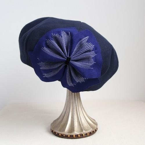 ステッチリボンのベレー/紺×ロイヤルブルー