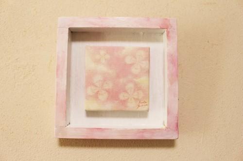 原画:mini絵画four clovers skyシリーズ(ピンク)