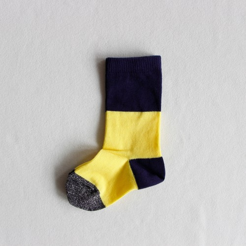 《suis moi》3 tone regular socks / yellow × black / 4-10Y