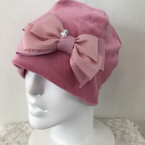 キラキラボールとキラキラフリンジリボンのケア帽子 ベロアピンク濃