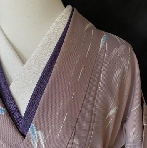 〈笹模様の駒絽の着物〉小紋 手縫い仕立て 送料無料 トール 夏着物 絽 洗える