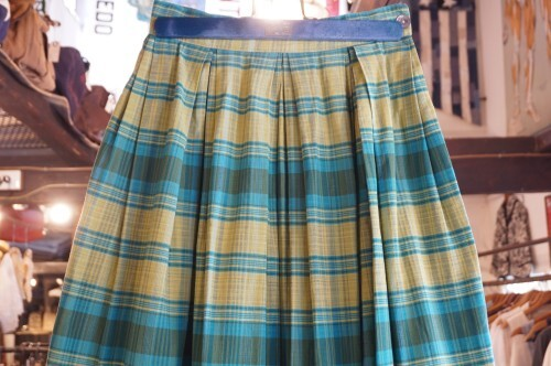 40's green plaid cotton pleated Skirt