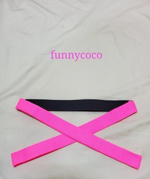 カラー三重紐 黒、ネオンカラーピンク
