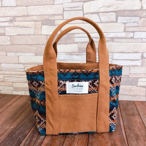 Camp Tote bag S - Camel / Blue