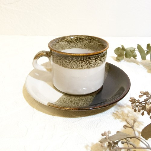 Vintage Modern Design Quail Pattern Glaze Brown&White Studio Pottery Cup&Saucer [CCV-19]