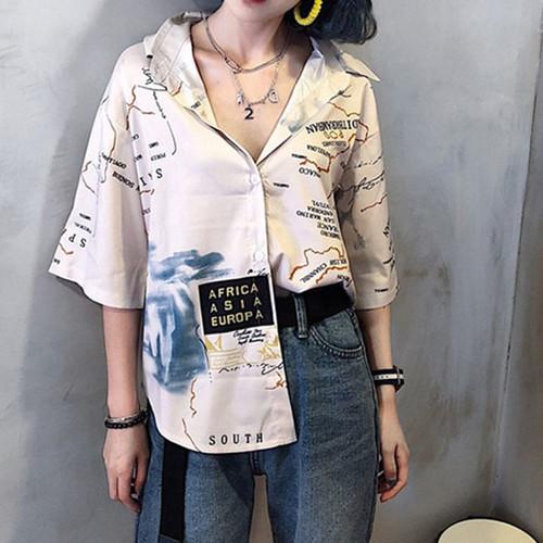 【トップス】配色カジュアルシングルブレストシャツ11918083