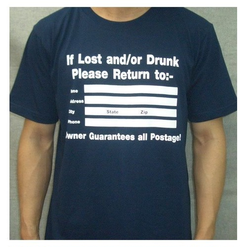 IF LOST AND/OR DRUNK パロディ・プリント Tシャツ