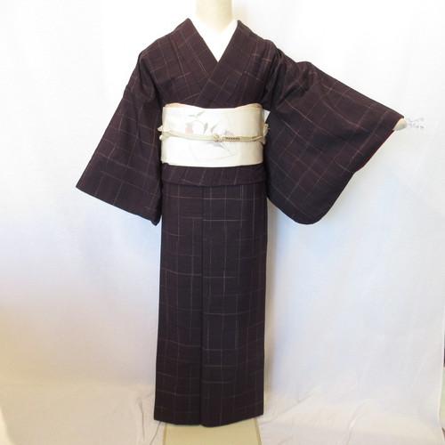 濃紺紬小紋1380と名古屋帯4点セット