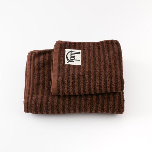 チョコブラウン ボーダー和紙タオルset 贈答袋付き