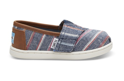 TOMS / NAVY MULTI STRIPE CANVAS TINY CLASSICS