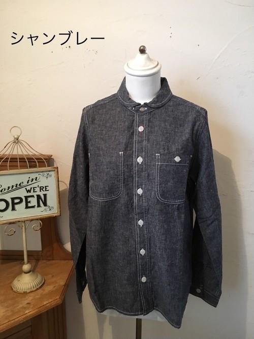 NATURAL LAUNDRY ダンガリー丸衿ワークシャツ