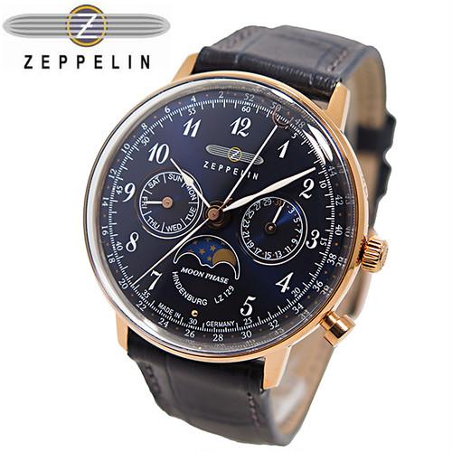 ツェッペリン ヒンデンブルク クオーツ ユニセックス 腕時計 7039-3 ネイビー ネイビー