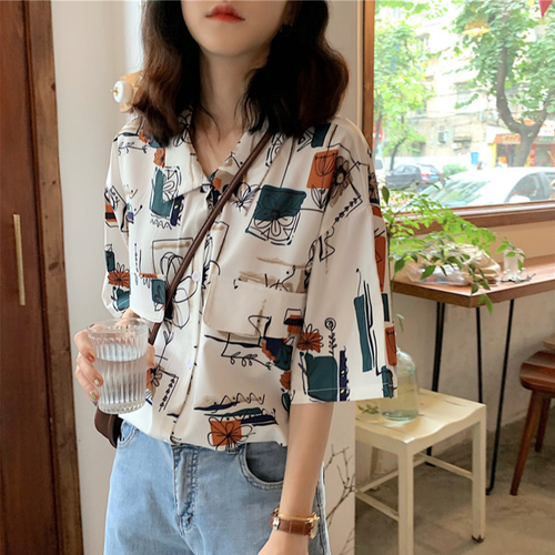 【トップス】ファッションレトロかっこいいプリントロングシャツ19854392