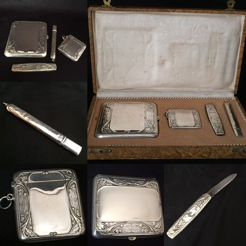 Art nouveau Silver cigarette case, vesta case, knife, pencil