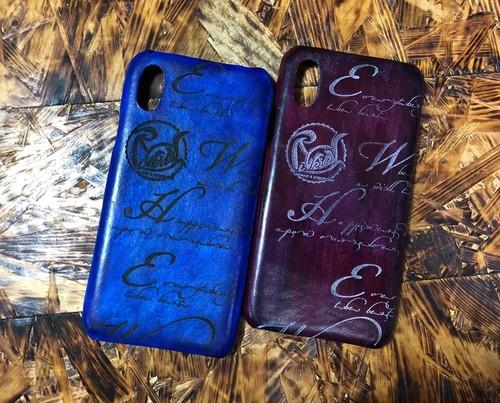 【現物販売】独特な色合いに手染めしたiPhoneX背面ケース(残り青のみ)