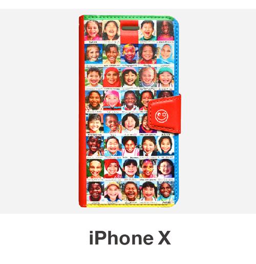 笑顔のiphone手帳型ケース(iPhone X 用)