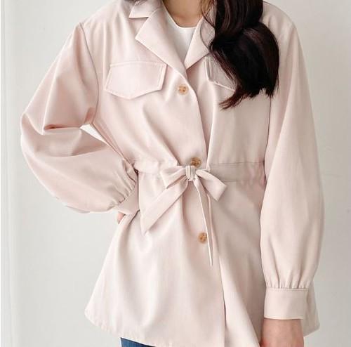 【送料無料】 今どきシルエット♡ フェミニン 大人可愛い ウエストマーク ジャケット ミディ丈 スプリング コート