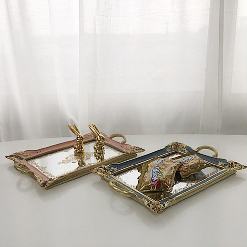 vintage antique mirror tray 2 colors / ヴィンテージ アンティーク ミラー トレー