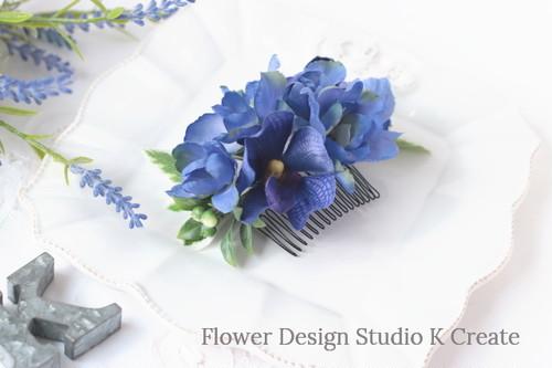 青いデルフィニュウムと蘭のコーム アーティフシャルフラワー 青 ブルー 髪飾り 造花 おでかけ