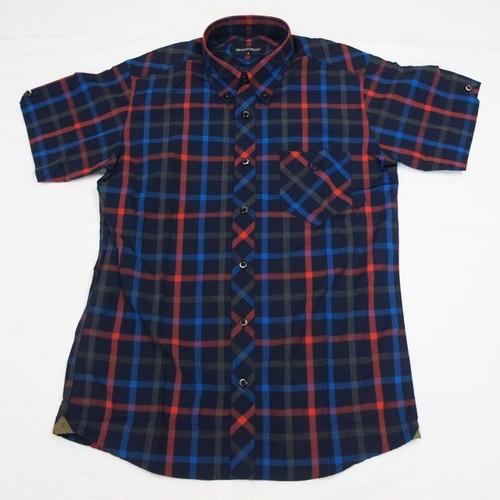 CHECK 半袖BDシャツ NAVY/RED/BLUE