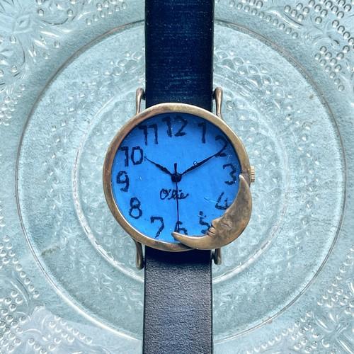 夜更けの月腕時計M瑠璃色