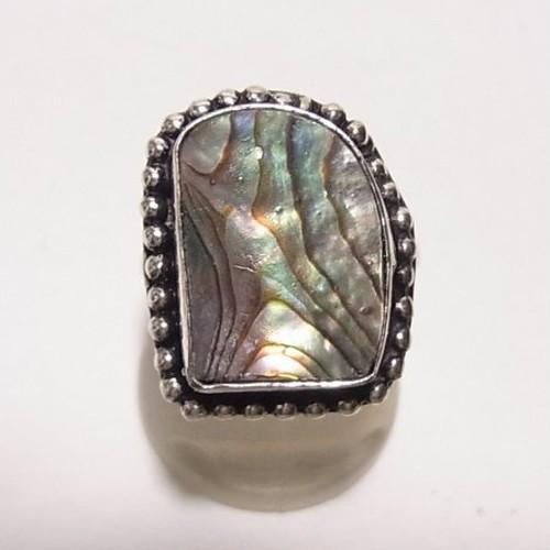 アバロニ(アワビの貝のフリーサイズ銀張りリング 天然石リング のセール通販 5968R